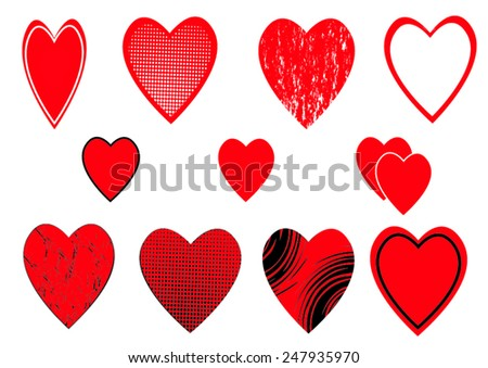 a set of heart icons on white background
