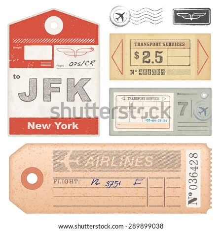 A set of high detail grunge Passport Tags, Tickets and stamps.