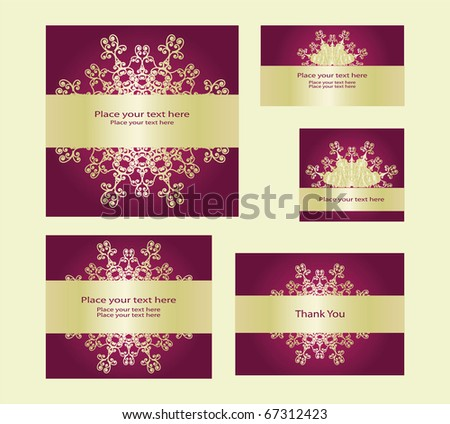A set of holidays invitation cards, eps10 - stock vector