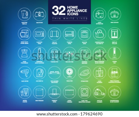 A set of home appliance icons including kitchen appliances, small domestic appliances, air treatment appliances, house keeping appliances, etc. - stock vector