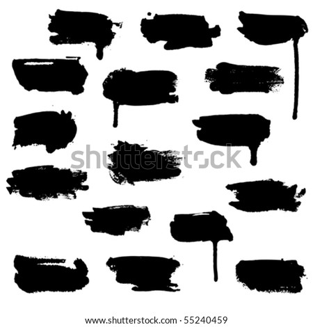 A set of horizontal brush water-colour blots - stock vector