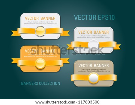 A set of horizontal vector promo banners decorated with yellow ribbons and various plastic round seals