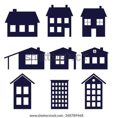 a set of house icons  vector illustration - stock vector