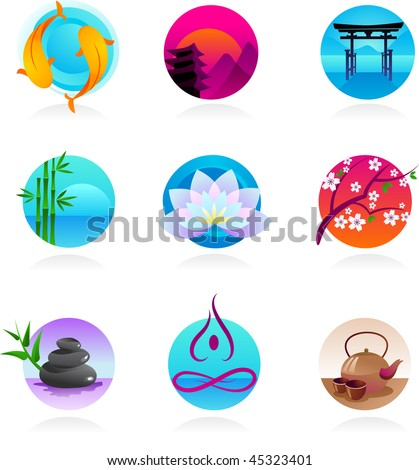 A set of icons in Chinese, Japanese and Indian style - spirituality and wellness theme - stock vector