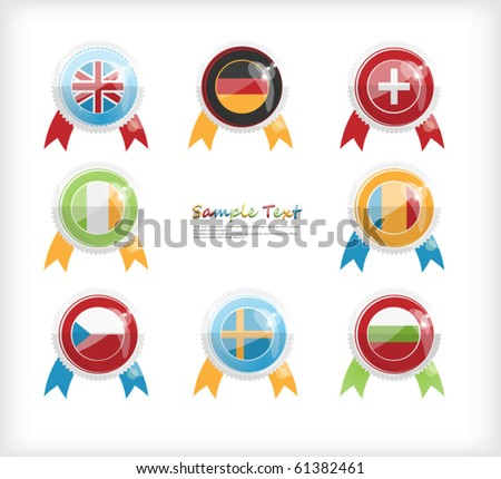 A set of icons in the form of flags on the day of the European languages - stock vector