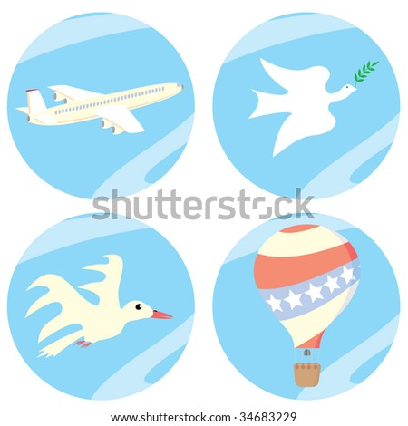"A set of icons ""in the sky"". Vector illustrations."