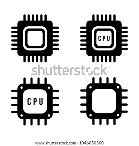 Set Icons Microchips Processors Quantum Processor Stock Vector