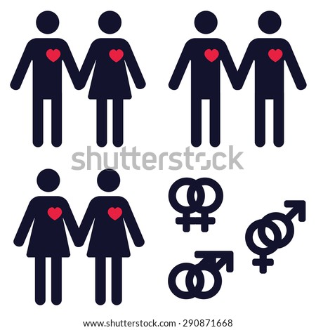 a set of icons representing heterosexual and homosexual relationships - stock vector