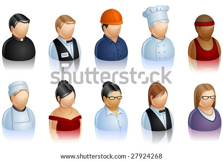 A set of icons representing people - stock vector