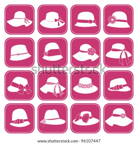 A set of 16 icons with elegant female hats. Raster version also available. - stock vector