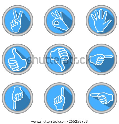 A set of icons with hand gestures in modern flat design with long shadow - stock vector