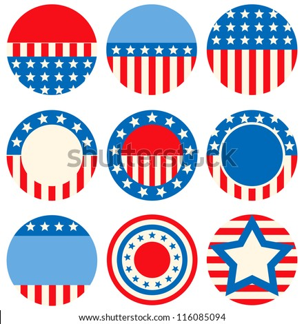 A set of icons with symbols of the USA - stock vector