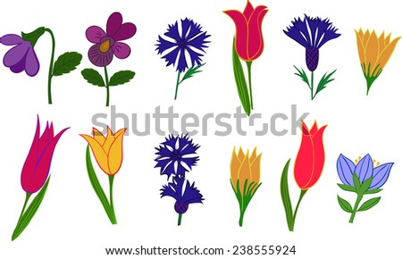 A set of images of different flowers. Vector illustration. - stock vector