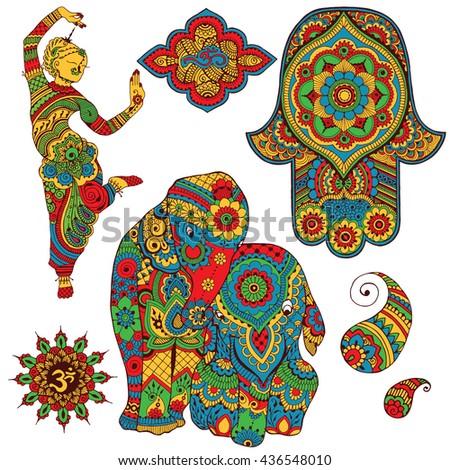 set indian symbols design sign ohm stock vector 436548010 shutterstock. Black Bedroom Furniture Sets. Home Design Ideas