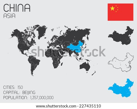 A Set of Infographic Elements for the Country of China - stock vector