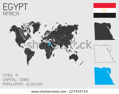 A Set of Infographic Elements for the Country of Egypt - stock vector