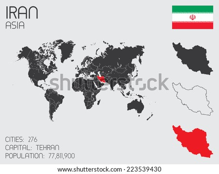 A Set of Infographic Elements for the Country of Iran - stock vector