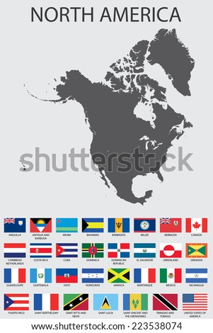 A Set of Infographic Elements for the Country of NorthAmerica