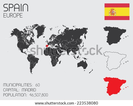 A Set of Infographic Elements for the Country of Spain - stock vector