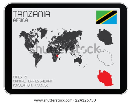 A Set of Infographic Elements for the Country of Tanzania - stock vector