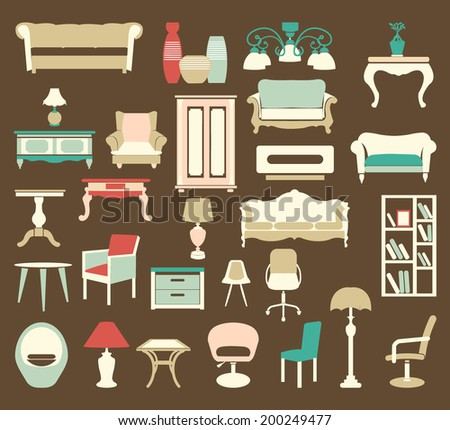 A set of interior Icons Set vintage style elements