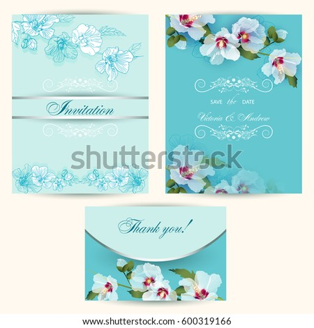 Set invitation cards wedding delicate white stock vector hd royalty a set of invitation cards for a wedding with delicate white mallow flowers with an example stopboris Image collections
