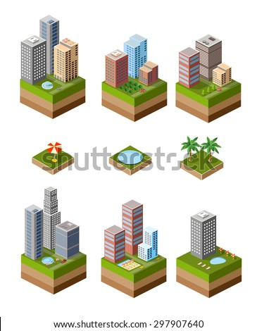 A set of isometric urban neighborhoods with high-rise buildings and swimming pools and parasols.