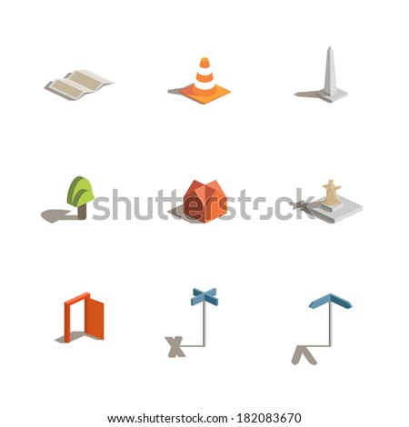 A set of isometric vector orientation icons. Including map, detour, monument, meeting point, tree, home, exit, crossroads and sign icons./Orientation Icon Set - stock vector