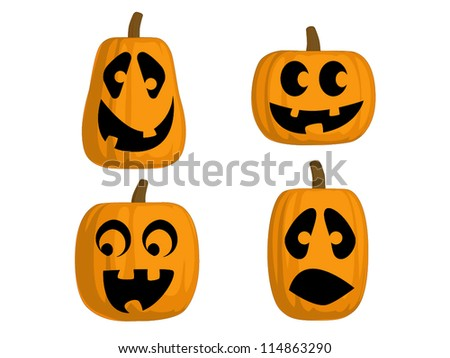 A set of 4 Jack O Lanterns (Silly) - stock vector