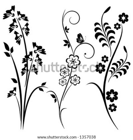 A set of 3 japanese floral designs. - stock vector