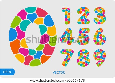 A set of joyful, colorful numbers from 1 to 0, made up of bubbles. Zero 0 One 1 Two 2 Three 3 Four 4 Five 5 Six 6 Seven 7 eight 8 nine 9.Vector. Eps 8.