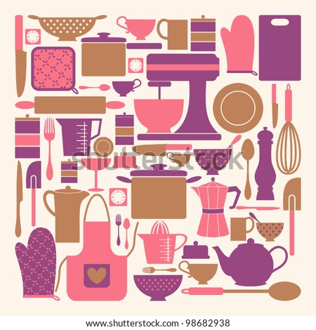 A set of kitchen items in pink, purple and brown. - stock vector