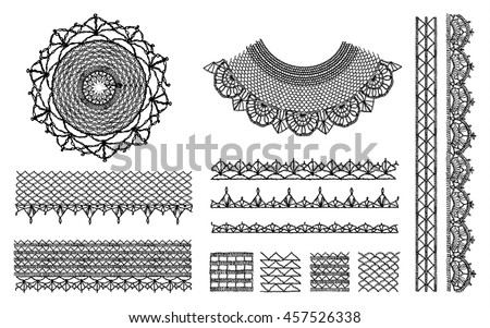 A set of knitted items, crochet doily collar neckline, handmade. Neck decoration, necklace, isolated crocheted lace border with an openwork pattern. Vector illustration. T-shirt