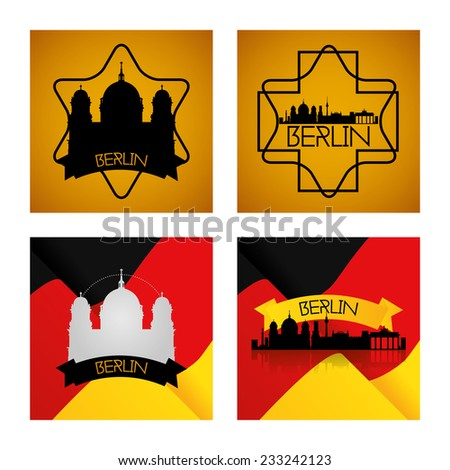 a set of labels and backgrounds with famous places in berlin