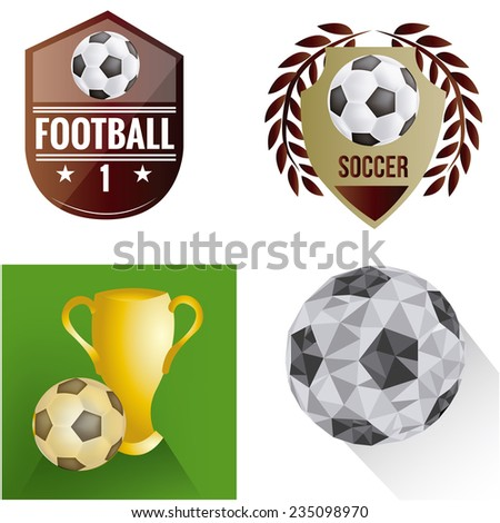 a set of labels and backgrounds with soccer balls and different elements