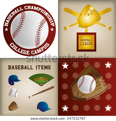 a set of labels and backgrounds with text and different baseball items