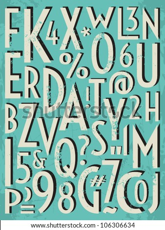 A set of letters and numbers in retro style. - stock vector