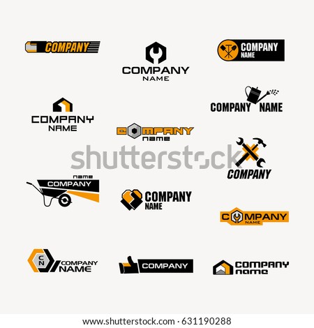A set of logos for a store of household goods or a company for the  production. Set Logos Store Household Goods Company Stock Vector 631190288