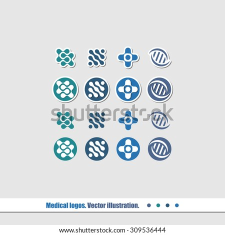A set of logos for medical companies. Vector illustration. - stock vector