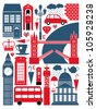 A set of London symbols and landmarks. - stock photo