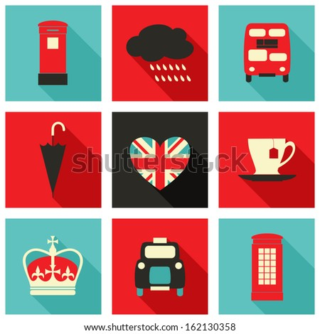 A set of long shadow icons with London symbols. - stock vector