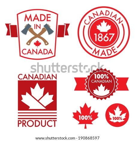 A set of made in Canada patches and crests in vector format.