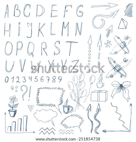 A set of many different business symbols (including letters and numerals) in sketch\doodles style - stock vector