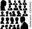 A set of men & women faces as head and shoulder profile silhouettes of people. - stock photo