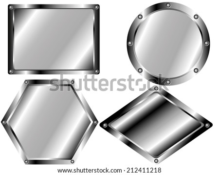 A set of metal plates of different shapes - stock vector