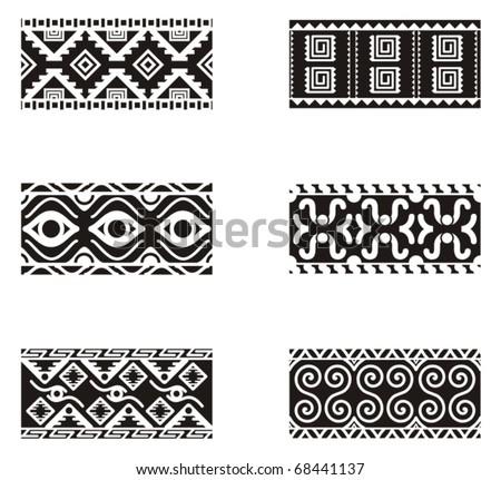 A set of Mexican ornamental designs. - stock vector