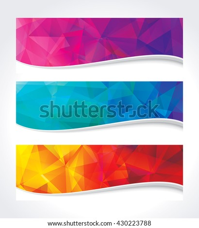A set of modern geometric colors background banner. - stock vector