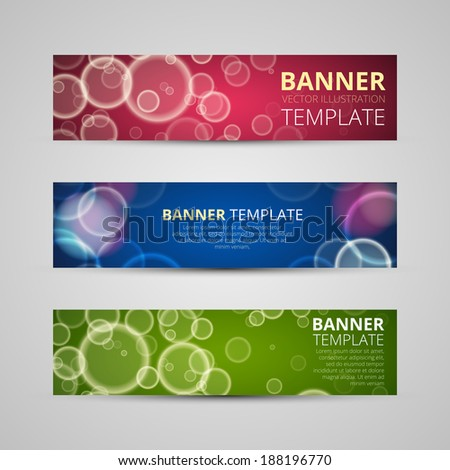A set of modern vector banners science style bubbles