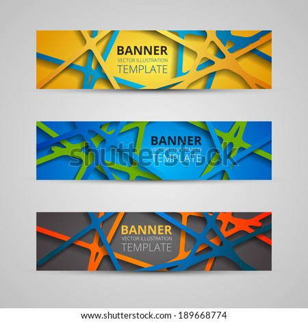 A set of modern vector banners with colored web of lines - stock vector