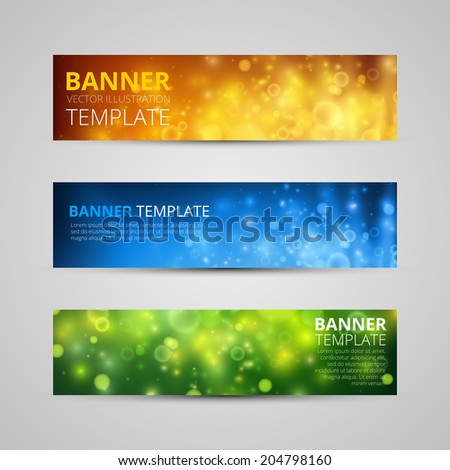 A set of modern vector banners with colorfull bokeh